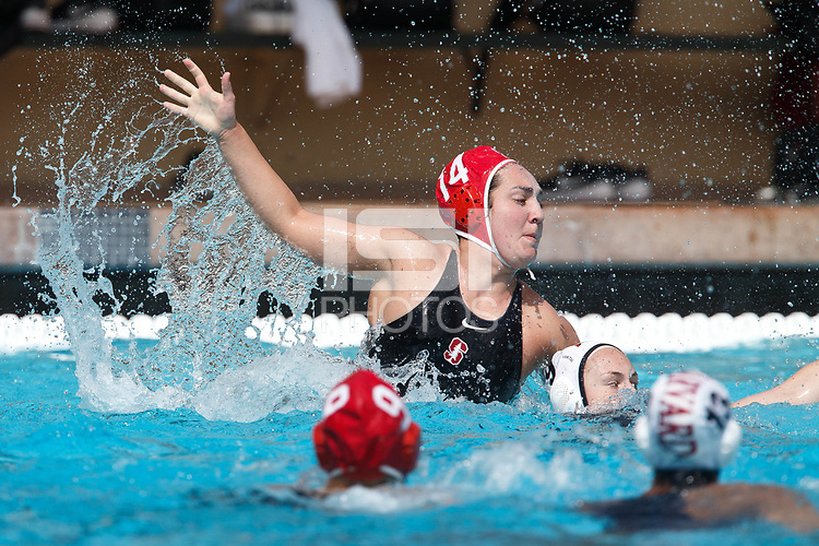 Stanford, CA - March 23, 2019: Chloe Harbilas during the Stanford vs. Harvard women's water polo game at Avery Aquatic Center Saturday.<br /> <br /> The Cardinal won 20-7.