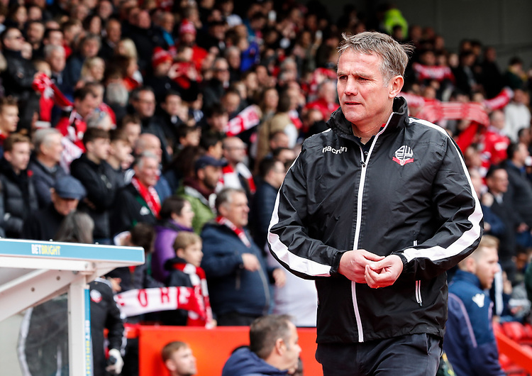 Bolton Wanderers' manager Phil Parkinson pictured before the match<br /> <br /> Photographer Andrew Kearns/CameraSport<br /> <br /> The EFL Sky Bet Championship - Nottingham Forest v Bolton Wanderers - Sunday 5th May 2019 - The City Ground - Nottingham<br /> <br /> World Copyright © 2019 CameraSport. All rights reserved. 43 Linden Ave. Countesthorpe. Leicester. England. LE8 5PG - Tel: +44 (0) 116 277 4147 - admin@camerasport.com - www.camerasport.com