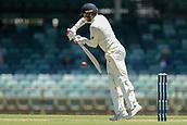 November 4th 2017, WACA Ground, Perth Australia; International cricket tour, Western Australia versus England, day 1; Mark Stoneman plays a forward defensive shot during his innings of 85