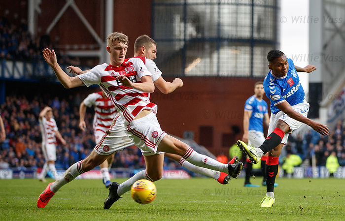 06.10.2019 Rangers v Hamilton: Alfredo Morelos drives in a shot