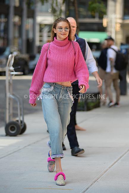 www.acepixs.com<br /> September 11, 2017 New York City<br /> <br /> Gigi Hadid seen in New York City on September 11, 2017.<br /> <br /> Credit: Kristin Callahan/ACE Pictures<br /> <br /> Tel: 646 769 0430<br /> Email: info@acepixs.com