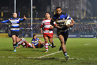 Aled Brew of Bath Rugby runs in a try in the second half. Anglo-Welsh Cup match, between Bath Rugby and Gloucester Rugby on January 27, 2017 at the Recreation Ground in Bath, England. Photo by: Patrick Khachfe / Onside Images