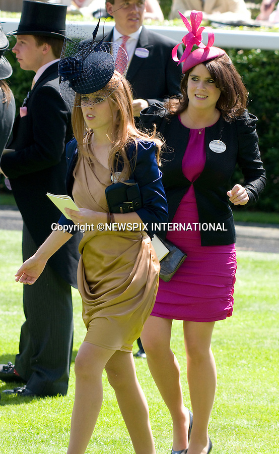 """PRINCESSES BEATRICE AND EUGENIE.Ladies Day of Royal Ascot, Ascot, Berkshire 2010_17/06/2010.Mandatory Photo Credit: ©Dias/Newspix International..**ALL FEES PAYABLE TO: """"NEWSPIX INTERNATIONAL""""**..PHOTO CREDIT MANDATORY!!: NEWSPIX INTERNATIONAL(Failure to credit will incur a surcharge of 100% of reproduction fees)..IMMEDIATE CONFIRMATION OF USAGE REQUIRED:.Newspix International, 31 Chinnery Hill, Bishop's Stortford, ENGLAND CM23 3PS.Tel:+441279 324672  ; Fax: +441279656877.Mobile:  0777568 1153.e-mail: info@newspixinternational.co.uk"""