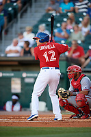 Buffalo Bisons third baseman Gio Urshela (12) bats during a game against the Syracuse Chiefs on July 6, 2018 at Coca-Cola Field in Buffalo, New York.  Buffalo defeated Syracuse 6-4.  (Mike Janes/Four Seam Images)