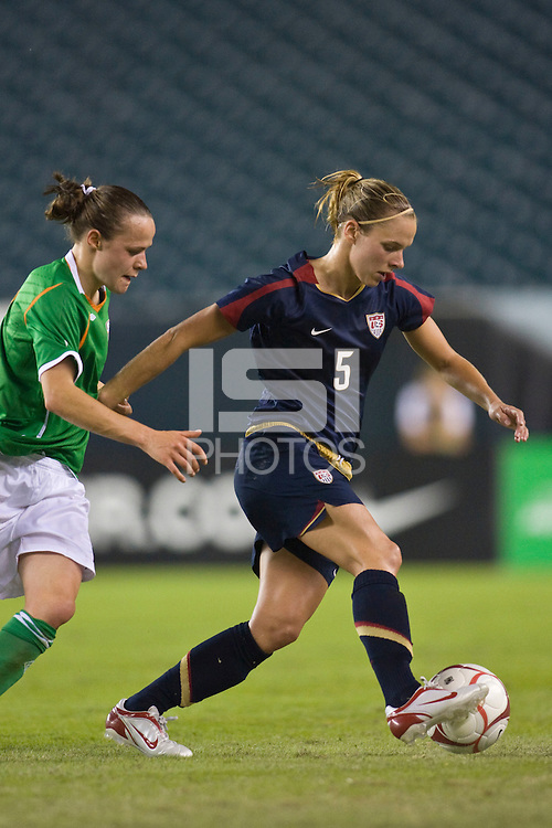 United States (USA) midfielder Lindsay Tarpley (5) and Republic of Ireland (IRL) midfielder Aine O'Gorman (8). The United States Women's National Team (USA) defeated the Republic of Ireland (IRL) 2-0 during an international friendly at Lincoln Financial Field in Philadelphia, PA, on September 13, 2008.