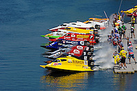 Heat race start: Terry Rinker (#10), Chris Fairchild (#62), Todd Bowden (#34) and Shaun Torrente (#42)..Champ Boat Series Grand Prix of Augusta, Augusta, GA USA  May, 2007 ©F. Peirce Williams 2007..F. Peirce Williams .photography.P.O.Box 455 Eaton, OH 45320 USA.p: 317.358.7326  e: fpwp@mac.com..