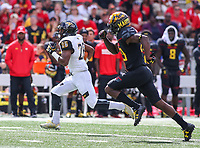 College Park, MD - September 9, 2017: Towson Tigers wide receiver Rodney Dorsey (26) runs for a touchdown during game between Towson and Maryland at  Capital One Field at Maryland Stadium in College Park, MD.  (Photo by Elliott Brown/Media Images International)
