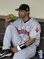 May 14, 2004:  Luis Figueroa of the Indianapolis Indians, Triple-A International League affiliate of the Milwaukee Brewers, jokingly poses during a game at Frontier Field in Rochester, NY.  Photo by:  Mike Janes/Four Seam Images