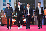 He Changzai, Zhu Weijie, Xu Yongming, and Liu Kailuo walk the Red Carpet event at the World Celebrity Pro-Am 2016 Mission Hills China Golf Tournament on 20 October 2016, in Haikou, China. Photo by Victor Fraile / Power Sport Images