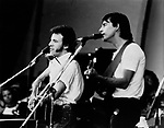 Bruce Springsteen 1981 with Jackson Browne at Survival Sunday at the Hollywood Bowl.© Chris Walter.