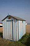 Old beach hut, Aldeburgh, Suffolk, England thought to have been originally used in Victorian times as a changing room by bathers.