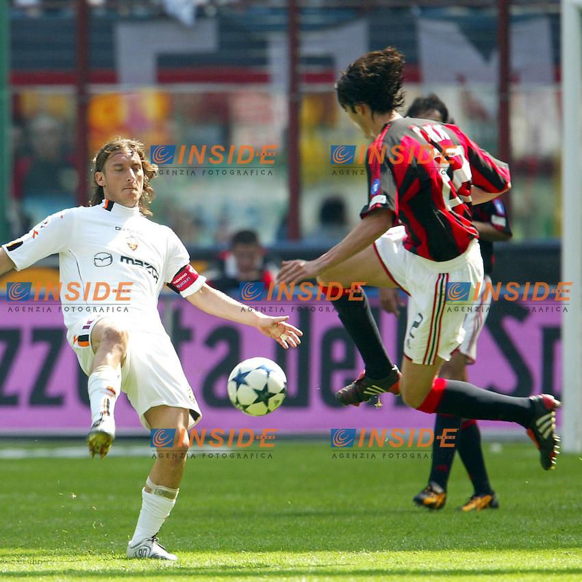 Milano 2/5/2004 Campionato Italiano Serie A - Matchday 32<br /> Milan Roma 1-0 <br /> Milan Campione d'Italia - Milan wins italian championship <br /> Francesco Totti (Roma) and Kaka (Milan)