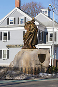 The statue of Roger Conant who is the founder of Salem, MA. This statue is located next to the Salem Witch Museum in Salem, Massachusetts USA which is part of New England.