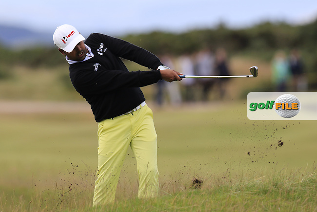 Anirban Lahiri (IND) in action on the 14th hole during Sunday's Round  of the 144th Open Championship, St Andrews Old Course, St Andrews, Fife, Scotland. 19/07/2015.<br /> Picture Eoin Clarke, www.golffile.ie