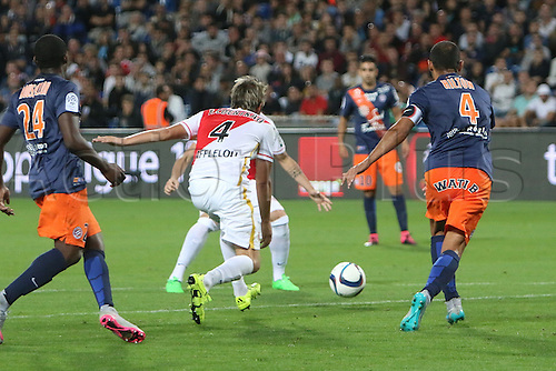 24.09.2015. Montpelier, France. French League 1 football. Montpellier versus AS Monaco.  Monaco goal scores by fabio coentrao in the 56th minute