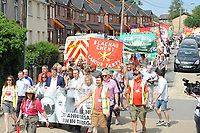 "The NHS rally during ""The Bevan Festival"" celebrating the 70th Anniversary of the National Health Service. <br /> <br /> Tredegar, South Wales, Sunday 1st July 2018 <br /> <br /> <br /> Jeff Thomas Photography -  www.jaypics.photoshelter.com - <br /> e-mail swansea1001@hotmail.co.uk -<br /> Mob: 07837 386244 -"