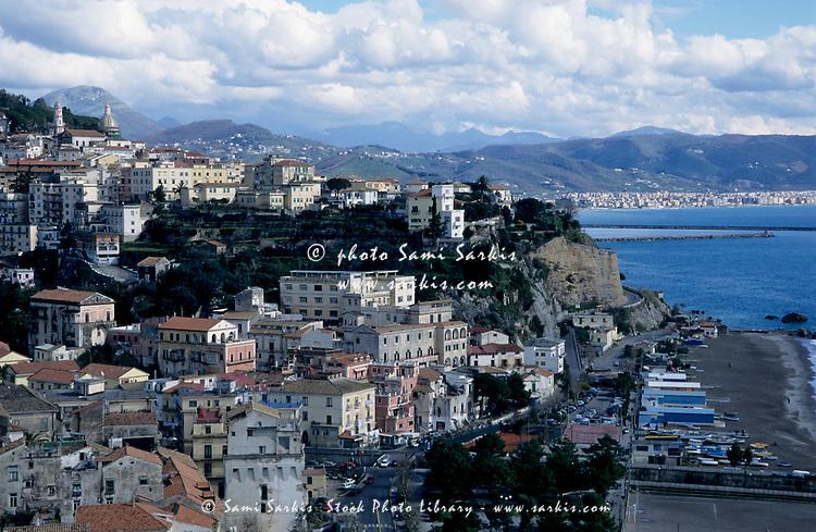 The coastal village of Minori built on the coastal cliffs of the Tyrrhenian Sea, Italy.