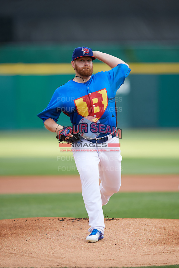 Buffalo Bisons starting pitcher Brett Anderson (48) delivers a warmup pitch during a game against the Gwinnett Braves on August 19, 2017 at Coca-Cola Field in Buffalo, New York.  The Bisons wore special Superhero jerseys for Superhero Night.  Gwinnett defeated Buffalo 1-0.  (Mike Janes/Four Seam Images)