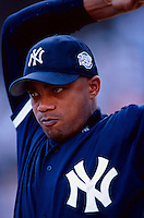 Orlando Hernandez  of the New York Yankees participates in the 1998 World Series against the San Diego Padres at Qualcomm Stadium in San Diego, California. (Larry Goren/Four Seam Images)