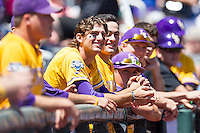 LSU Tigers outfielder Mark Laird (9) before the NCAA College baseball World Series against the Cal State Fullerton on June 16, 2015 at TD Ameritrade Park in Omaha, Nebraska. LSU defeated Fullerton 5-3. (Andrew Woolley/Four Seam Images)