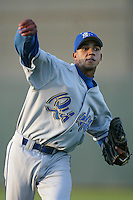 Pedro Liriano of the Rancho Cucamonga Quakes warms up before pitching during a California League 2002 season game against the High Desert Mavericks at Mavericks Stadium, in Adelanto, California. (Larry Goren/Four Seam Images)