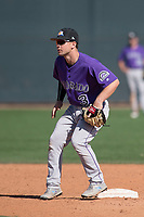 Colorado Rockies shortstop Max George (3) during a Minor League Spring Training game against the Milwaukee Brewers at Salt River Fields at Talking Stick on March 17, 2018 in Scottsdale, Arizona. (Zachary Lucy/Four Seam Images)