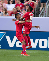 CLEVELAND, OH - JUNE 22: Gabriel Torres #9 and Alberto Quintero #19 celebrate a goal during a game between Panama and Guyana at FirstEnergy Stadium on June 22, 2019 in Cleveland, Ohio.