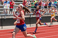 Barat Academy sophomore Addie Grapperhaus (#49) sprints to a fifth-place finish in the Class 2 200-meters in 26.69 at the Missouri Class 1 and 2 State Track and Field Championships in Jefferson City, Saturday, May 21.