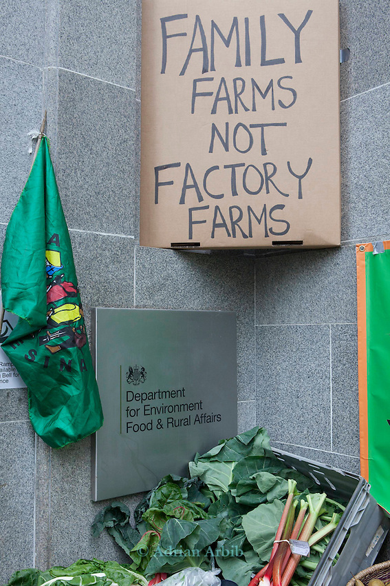 Over 100 people set up a  farmers'  market  stall outside of DEFRA offices today to protest against the marginalisation of small farms by Government policy.<br /> <br /> The organised by the Landworkers' Alliance a new coalition of small scale and family farms.
