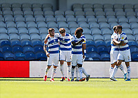 18th July 2020; The Kiyan Prince Foundation Stadium, London, England; English Championship Football, Queen Park Rangers versus Millwall; Conor Masterson of Queens Park Rangers celebrates with his team mates after scoring his sides 1st goal in the 43rd minute to mate it 1-0
