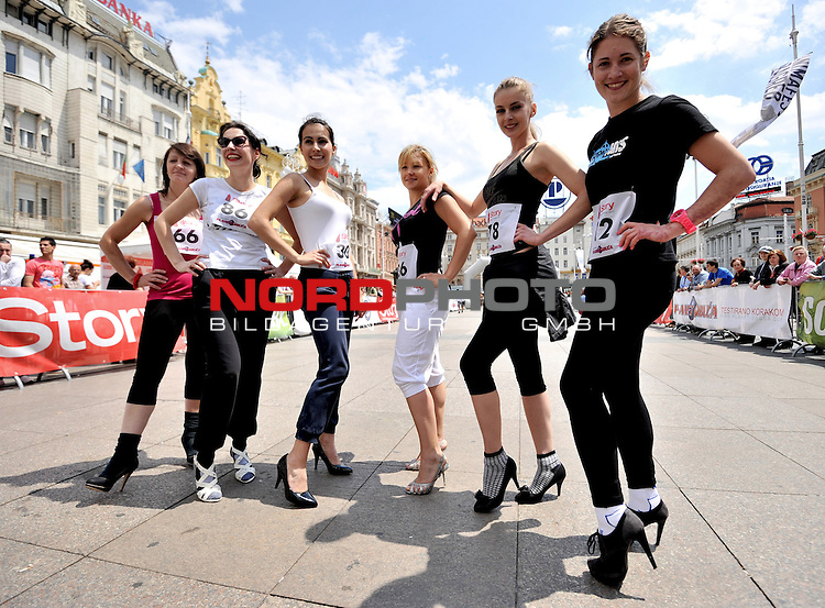 26.05.2012., Zagreb,Croatia - Running on high heels, organized by the magazine Story,  held on  Square of ban Josip Jelacic. <br /> Photo:Marko Lukunic/PIXSELL