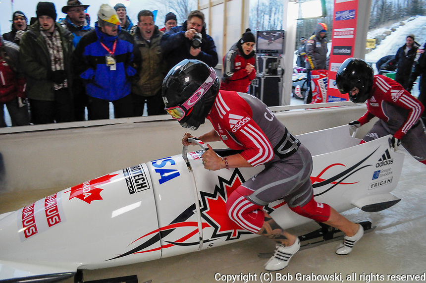 Kaillie Humphries and Jennifer Ciochetti at the 2012 Bob And Skeleton World Championships at Lake Placid, New York