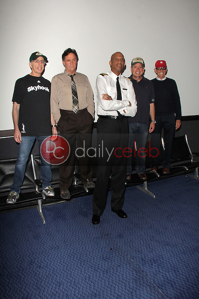 """Jerry Zucker, Robert Hays, Kareem Abdul-Jabbar, David Zucker, Jim Abrahams<br /> at a reunion of """"Airplane"""" original castmembers and directors to film spots for the Wisconsin Department of Tourism, Air Hollywood, Pacoima, CA 09-19-13<br /> David Edwards/Dailyceleb.com 818-249-4998"""