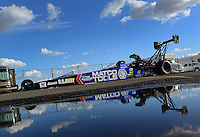 Nov. 9, 2012; Pomona, CA, USA: The car of NHRA top fuel dragster driver Antron Brown is towed back to the pits during qualifying for the Auto Club Finals at at Auto Club Raceway at Pomona. Mandatory Credit: Mark J. Rebilas-