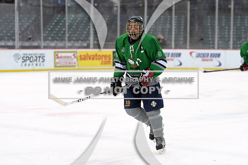 Notre Dame Fighting Irish of Batavia forward Mason Versage (9) during a varsity ice hockey game against the Brockport Blue Devils during the Section V Rivalry portion of the Frozen Frontier outdoor hockey event at Frontier Field on December 22, 2013 in Rochester, New York.  (Copyright Mike Janes Photography)