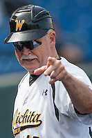 Gene Stephenson, coach of the Wichita State Shockers in action during the NCAA matchup between the Indiana State Sycamores and the Wichita State Shockers at Eck Stadium on April 6th, 2012 in Wichita, Kansas. The Shockers defeated the Sycamores 11-3. (William Purnell/Four Seam Images)