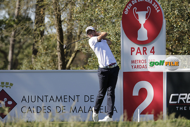 Seve Benson (ENG) tees off the 2nd tee during Thursday's Round 1 of the 2014 Open de Espana held at the PGA Catalunya Resort, Girona, Spain. Wednesday 15th May 2014.<br /> Picture: Eoin Clarke www.golffile.ie