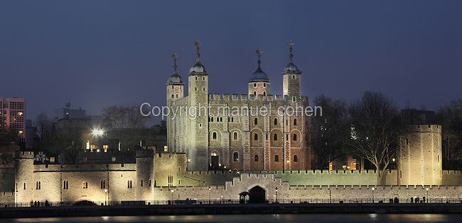 Tower of London (Her Majesty's Royal Palace and Fortress), north bank of the River Thames, London, England. Founded in the 11th century, there were several phases of expansion, mainly in the 12th and 13th centuries. Picture by Manuel Cohen