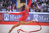 Anna Alyabyeva of Kazakhstan performs split leap during event finals  at 2010 Grand Prix Marbella at San Pedro Alcantara, Spain on May 16, 2010. Anna placed 6th AA at Marbella 2010. (Photo by Tom Theobald).