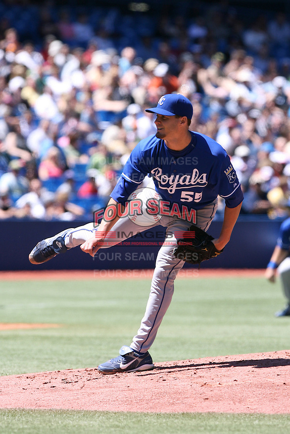 May 25th 2008:  Starting pitcher Gil Meche (55) of the Kansas City Royals during a game at the Rogers Centre in Toronto, Ontario, Canada .  Photo by:  Mike Janes/Four Seam Images