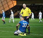 Martyn Waghorn gets a booking from Craig Charleston for tumbling in the box - he looks over to the linesman in astonishment!