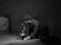 The Egyptian artist Wael Shawky (born 1971)  poses for a Portrait in the Kunstahaus Bregenz. Wael uses his filming of puppet theater to tell the story of the Crusades.