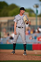 Grand Junction Rockies relief pitcher Cayden Hatcher (21) during a Pioneer League game against the Grand Junction Rockies at Dehler Park on August 15, 2019 in Billings, Montana. Billings defeated Grand Junction 11-2. (Zachary Lucy/Four Seam Images)