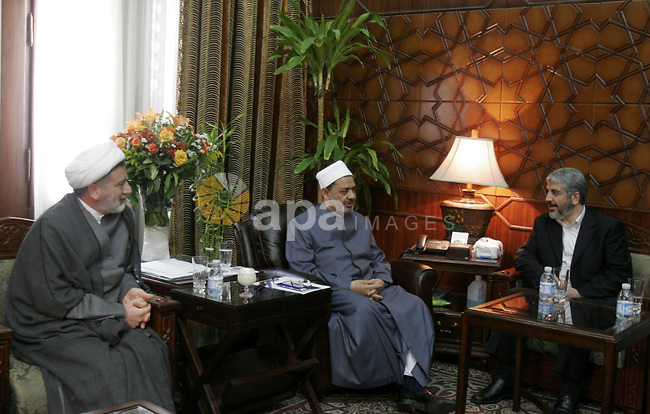 Hamas leader Khaled Mashaal meets with Ahmed al-Tayyeb, the sheikh of al-Azhar, the highest Islamic Sunni institution, during his visit in Cairo, Egypt, Monday, May 9, 2011. Photo by Ahmed Asad