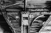 The underside of the upper platform of the abandoned railway station on 16th St. in Oakland, California. The station was built built in 1912 for the Southern Pacific Railroad and later used by Amtrak before closing in 1994.