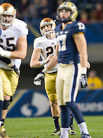 Kicker Kyle Brindza (27) reacts to a missed first quarter field goal attempt.