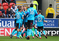 Fleetwood Town team mates celebrate Ashley Eastham of Fleetwood Town scoring first goal during the Sky Bet League 1 match between Rotherham United and Fleetwood Town at the New York Stadium, Rotherham, England on 7 April 2018. Photo by Leila Coker.