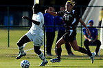 03 DEC 2011: Kayla Addison (9) of GVSU and Derith Fernandes (16) of Saint Rose battle for the ball during the Division II Women's Soccer Championship held at the Ashton Brosnaham Soccer Complex in Pensacola, FL.  Saint Rose defeated Grand Valley State 2-1 to win the national title.  Stephen Nowland/NCAA Photos