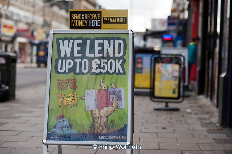 High street finance shop offering loans in Ilford.