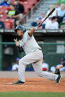 Pawtucket Red Sox shortstop Xander Bogaerts (15) hits a double during a game against the Buffalo Bisons on August 4, 2013 at Coca-Cola Field in Buffalo, New York.  Pawtucket defeated Buffalo 8-1.  (Mike Janes/Four Seam Images)